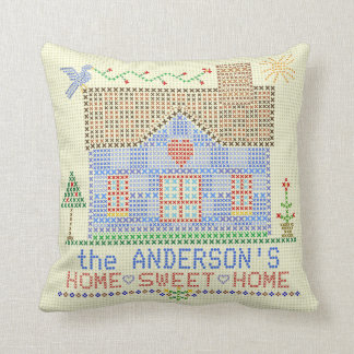 Home Sweet Home Cross Stitch House Personalized Cushion