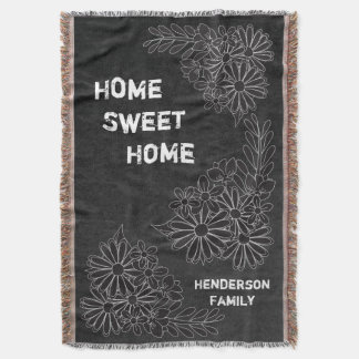 Home Sweet Home Family Chalkboard Styled Throw Blanket