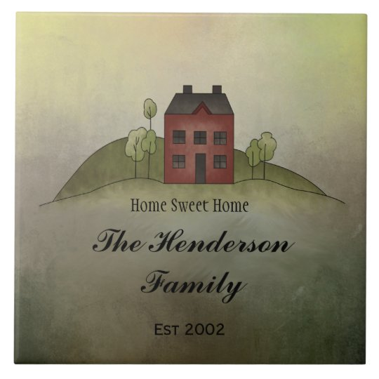 Home Sweet Home Family NameTile Large Square Tile