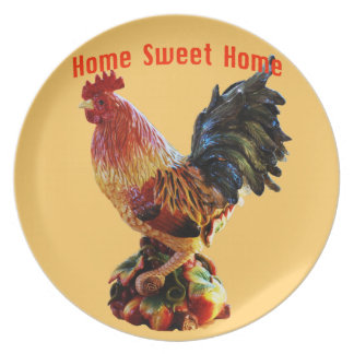 Home Sweet Home Farm Rooster Gold Party Plate