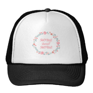 Home sweet home, floral laurel wreath trucker hats