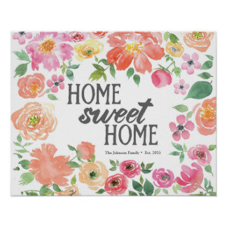 Home Sweet Home - Flower Watercolor - Family Name Poster