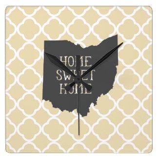 Home Sweet Home Ohio Square Wall Clock