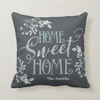 """""""Home Sweet Home"""" personalized floral pillow"""