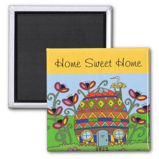 Home Sweet Home Pysanka House Square Magnet
