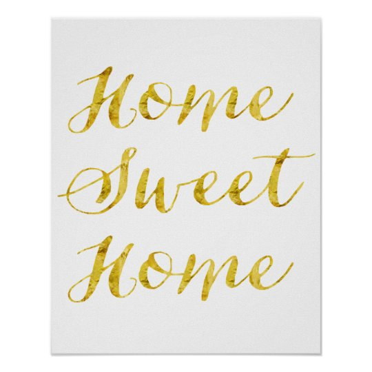 Home Sweet Home Quote Gold Faux Glitter Metallic