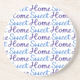 Home Sweet Home Repeat Script Pattern Blue & White Coaster
