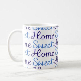 Home Sweet Home Repeat Script Pattern Blue & White Mug