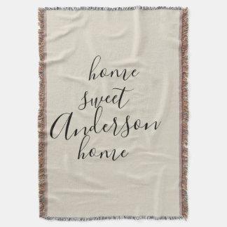 Home Sweet Home Rustic Family Name Throw Blanket