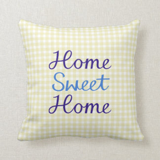 Home Sweet Home Script in Blues on Yellow Gingham Cushion