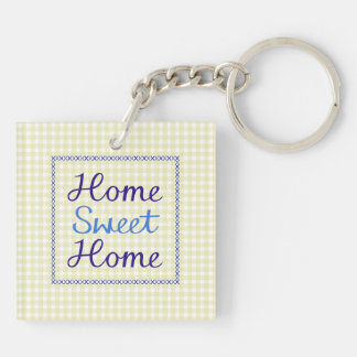 Home Sweet Home Script in Blues on Yellow Gingham Double-Sided Square Acrylic Key Ring