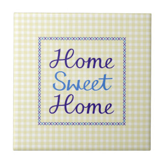Home Sweet Home Script in Blues on Yellow Gingham Small Square Tile