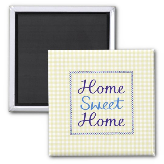 Home Sweet Home Script in Blues on Yellow Gingham Square Magnet