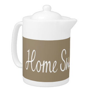 Home Sweet Home Script in White on Taupe