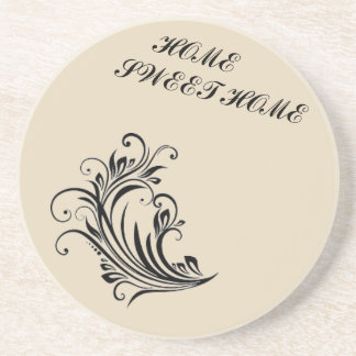 HOME SWEET HOME TATTOO FLORAL  SANDSTONE COASTER
