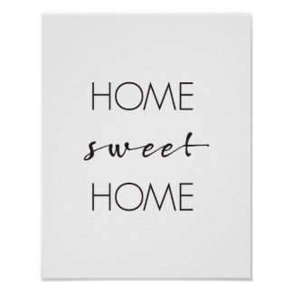 Home Sweet Home, Wall Art Print, Typography Poster