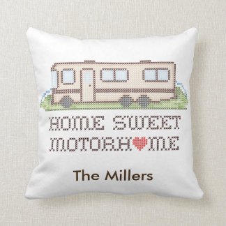 Home Sweet Motor Home, Class A Fun Road Trip Throw Pillow