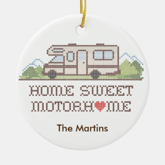 Home Sweet Motor Home, Class C Fun Road Trip Round Ceramic Decoration