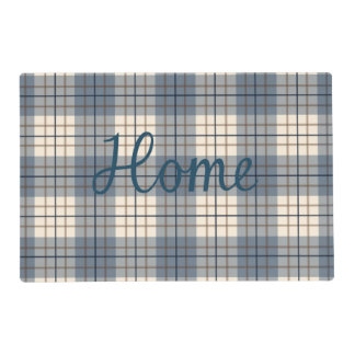 Home & Sweet on Plaid Blues Brown Cream Placemat