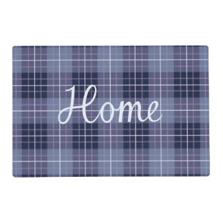 Home & Sweet on Plaid Blues & Purples Laminated Placemat
