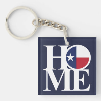 HOME Texas Lone Star Keychain Small Square BLUE