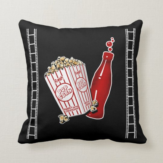 Home Theatre Throw Pillow with Popcorn
