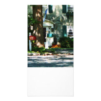Home With Turquoise Shutters Photo Greeting Card
