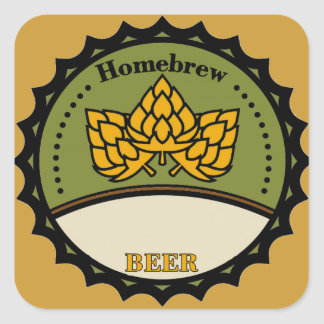 Homebrew Beer Label, add name. Square Sticker
