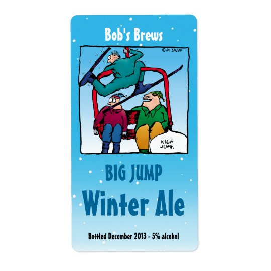 Homebrew Beer Labels with Funny Skiing Cartoon