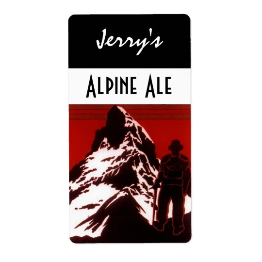 Homebrewing Beer Bottle Label Alpine Hiker Ale