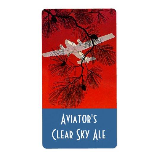 Homebrewing Beer Bottle Label Aviators Aeroplane Shipping Label