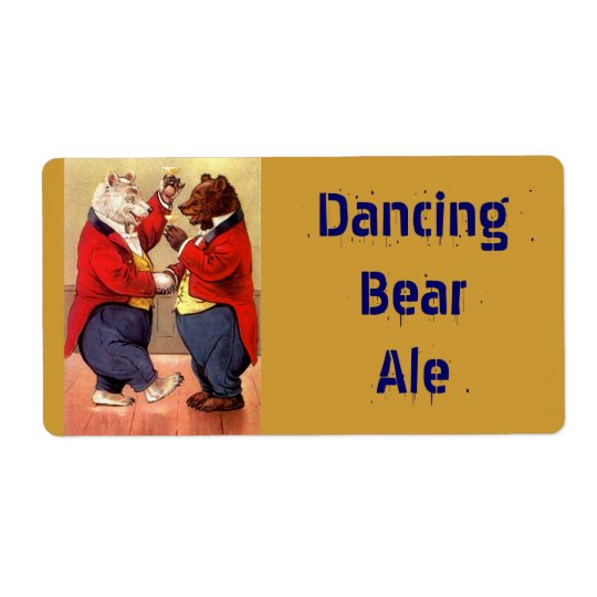 Homebrewing Beer Bottle Label Dancing Party Bears Shipping Label