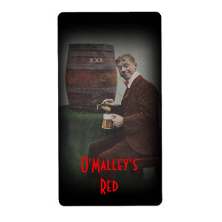 Homebrewing Beer Bottle Label O'Malley's Red Lager Shipping Label
