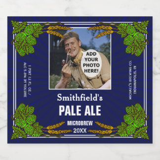 Homebrewing Beer Brewer Hops Custom Photo Blue Beer Bottle Label