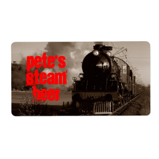 Homebrewing Beer Label Steam Beer Sepia Red Train
