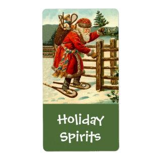 Homebrewing Holiday Santa Delivering Spirits Label Shipping Label