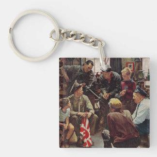 Homecoming Marine Double-Sided Square Acrylic Key Ring