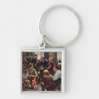 Homecoming Marine Silver-Colored Square Key Ring