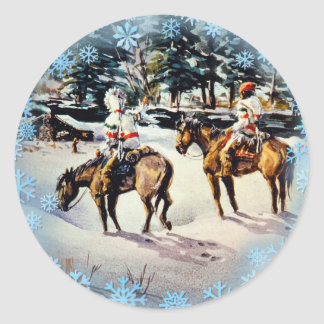 HOMECOMING  & SNOWFLAKES by SHARON SHARPE Classic Round Sticker