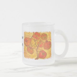 homegrown tomatoes art frosted glass mug