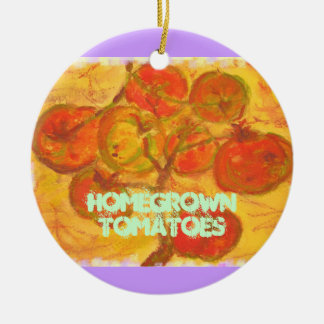 homegrown tomatoes round ceramic decoration