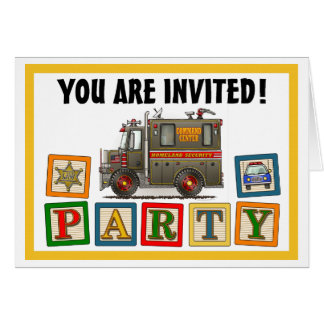 Homeland Security Truck Party Invitation Greeting Card