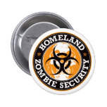 Homeland Zombie Security Skull - Orange 6 Cm Round Badge