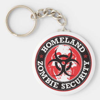Homeland Zombie Security Skull - Red Basic Round Button Key Ring