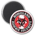 Homeland Zombie Security Skull - Red Fridge Magnet