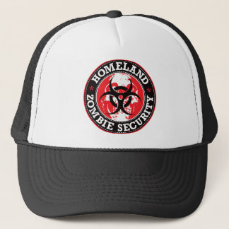 Homeland Zombie Security Skull - Red Trucker Hat