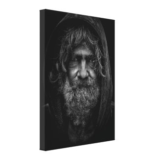 Homeless and Helpless Man in Black and White Canvas Print