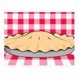 homemade cherry pie on chequered background