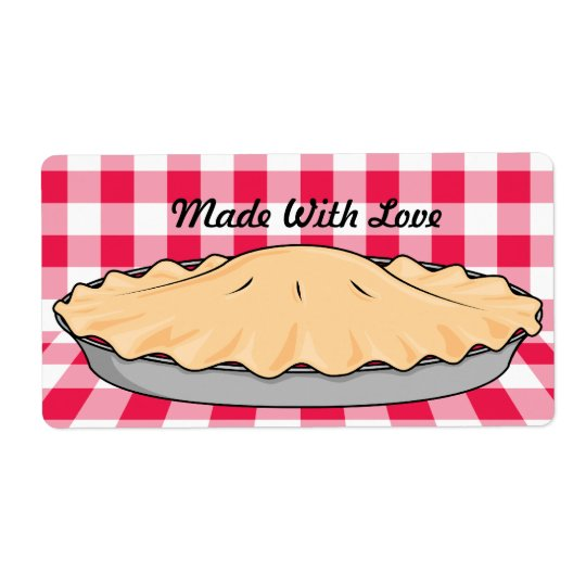 homemade cherry pie on chequered background shipping label