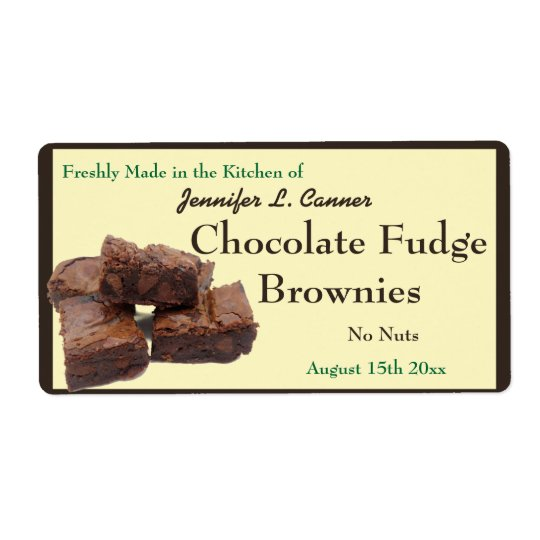 Homemade Chocolate Brownies Packaging Shipping Label